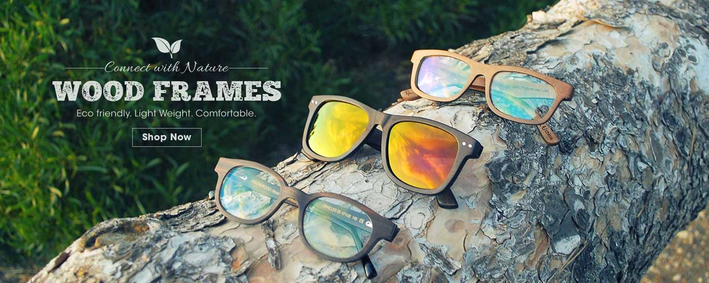 Wood material glasses and sunglasses